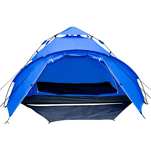 WOLTU Campingzelt 3-4 Personen Zelt Camping Festival Sekundenzelt leicht mit Quick-Up-System Vorzelt Igluzelt wasserfest CPZ8144bl