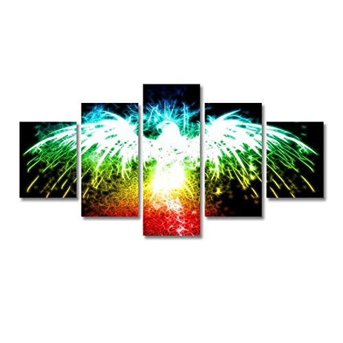 HKOEBST - Pintura abstracta moderna para pared, diseño de águila animal fractal abstracta, pintura de arte moderno, núcleo de imagen, con marco de madera, talla L