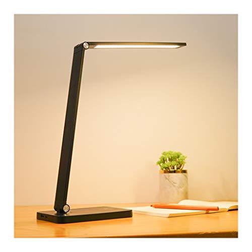 Lámpara de Escritorio Led Escritorio de la lámpara LED, Eye-El Cuidado Temperatura lámpara de Mesa 3 Color Touch Control con el Puerto de Carga USB, Regulable Oficina Luz (Color : Black)