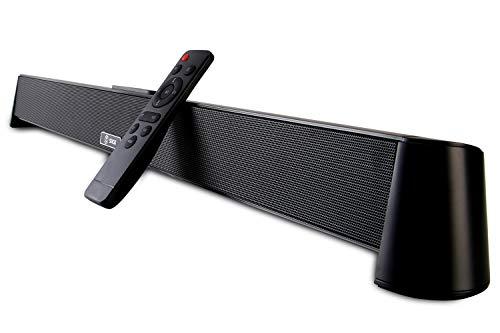 6GO 사운드 바 유무선 및 무선 블루투스 5.0 TV 스테레오 스피커 사운드 바 6 EQ 모드가있는 40W TV 사운드 바 스피커 지원 광학 | AUX | RCA 홈 시어터 (블랙)