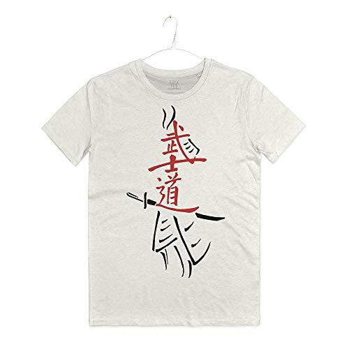 INSIDETSHIRT Maglietta Arti Marziali Samurai Katana Bushido T-Shirt Man La Via del Guerriero Japan (Warm White, M)