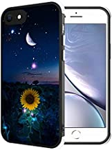 Compatible with iPhone 6s Plus/6 Plus Case Starry Night Sunflower Moon Crescent Pattern, [Shock-Absorbing Corners] [Scratch Resistant] [Lens Protective] Hard PC + Flexible TPU Frame Slim Phone Case