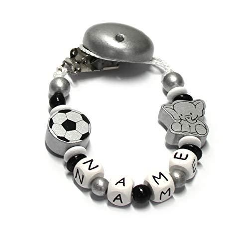Baby Schnullerkette mit Perlen aus Holz.Elefant und Fußball silber Jungen