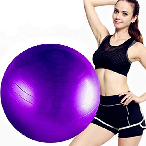 FCFLXJ Exercise Ball 45cm/55cm/65cm/75cm/85cm,Anti-Burst & Anti-Slip Gym Ball,Balance Ball,Use at Office, Gym or Home,Purple,55CM