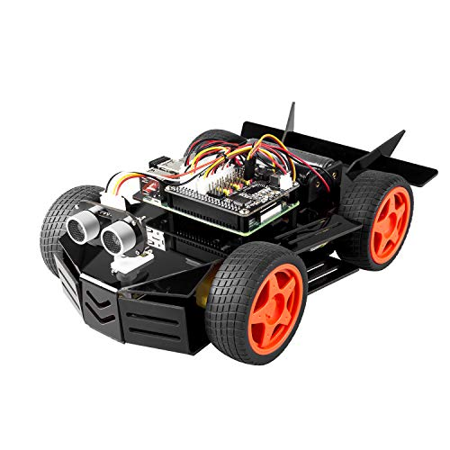 SUNFOUNDER Raspberry Pi Car Robot Kit, 4WD HAT Module, Ultrasonic Sensor, Remote Control by PC Cellphone and Tablet Compatible Pi 4B/3B+ 3B