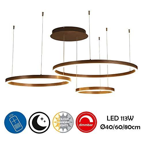 YSNJG Moderne kroonluchter Squilla LED plafondlamp 3 ringen hanglamp rond 3000K-6000K dimbaar 40 + 60 + 80 cm woonkamer tafellamp keuken keuken tafel