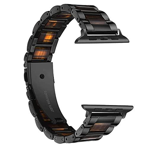 Reloj de bolsillo Reloj Correa compatible con Apple Watch 6 SE de la banda de 44 mm de 40 mm, 5 4 resina + correa de lujo de acero inoxidable compatible con iWatch 3 bandas, 42 mm 38mm enlace pulsera