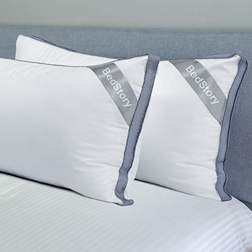 Adam Home Premium Pillows with Quilted Cover Stomach and Back Sleeper-Hotel Quality 1 Pack, Standard - Filled Pillows for Side Down Alternative Bed Pillow-Soft Hollow-fiber Filled Sleeping Pillows