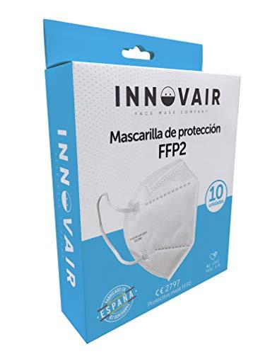 Mascarilla Protectora FFP2 NR INNOVAIR - 10 Unidades - Fabricación 100% Española CE 2797-5 capas (10 ud Blanco)