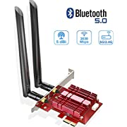 EDUP PCIe WiFi Card with Bluetooth 5.0 Adapter & Heat Sink - Wireless PCI Express AC 2030Mbps Network Card 2.4G/5.8G Wi-Fi Adapters for Windows 10 64-bit (EP-9631GS)
