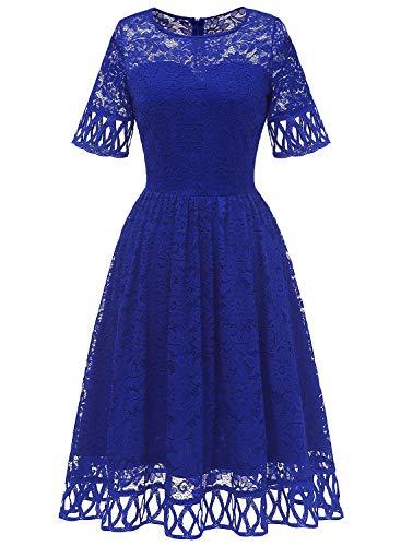 MuaDress 6068 Cocktailkleid Damen Abendkleid Kurz Kleid Festlich Spitzenkleid Knielang für Hochzeit Royalblau S
