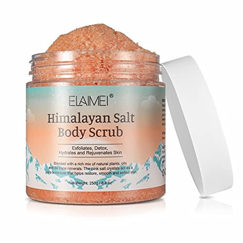 Himalayan Salt Body Scrub Infused with Lychee Oil, Natural Exfoliating Salt Scrub for Acne, Cellulite, Deep Cleansing, Scars, Wrinkles, Exfoliate and Moisturize Skin 8.8 oz