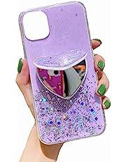 TYWZ Clear Sparkly Case voor iPhone 8/7, Bling Star Glitter Ontwerp voor Vrouwen Meisjes Zachte TPU Shockproof Anti-kras Beschermende Gevallen-Hart Spiegel Stand, Paars