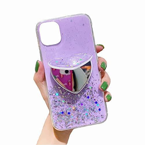 TYWZ Brillant Coque pour Huawei P Smart 2021,Silicone Glitter Sparkle Étoile Bling Transparent Cover Gel Soft Etui Flexible Case pour Fille Femmes-Cœur Miroir Supporter,Violet