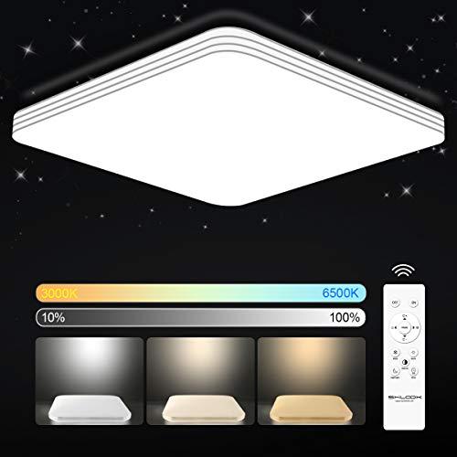SHILOOK Led Deckenleuchte Dimmbar mit Fernbedienung, 24W Deckenlampe für Schlafzimmer Kinderzimmer Küche Wohnzimmer, 3000K-6500K, Quadratisch Flach 33CM