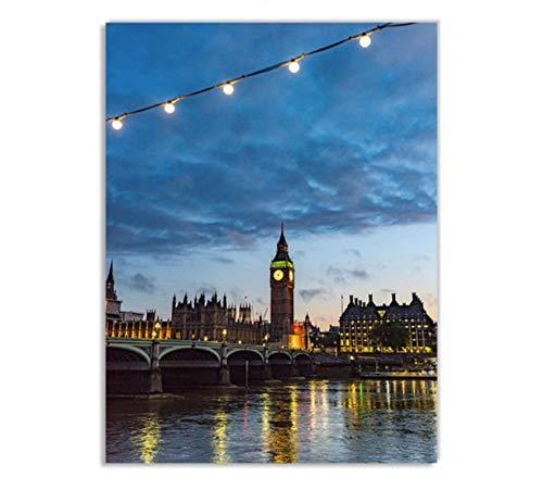 WHMQJQ Big Ben London Street Print Paisaje Lienzo Pintura Cartel nórdico Impresiones Cuadros de Pared para Sala de Estar decoración del hogar sin Marco 60 * 80Cm