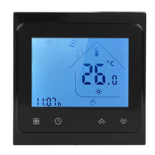 smart ac thermostats Smart Thermostat - 95‑240V AC WiFi Smart Voice Thermostat for Boiler Heating Use for Alexa LCD Touching Screen(Black)