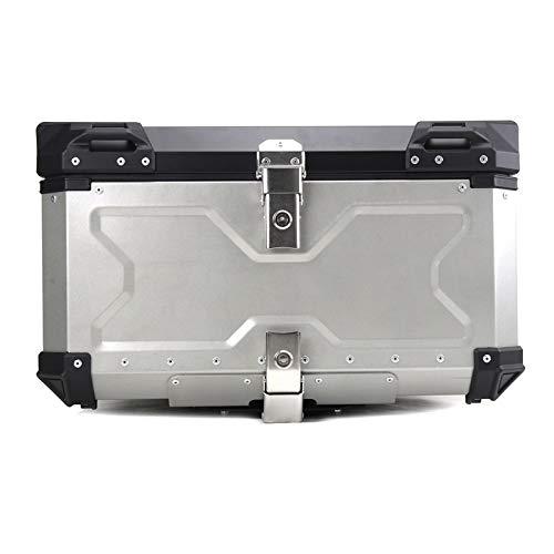 Baul Case para Caja de Almacenamiento de Equipaje Superior Trasera de Motocicleta Universal 100L 80L Caja de Herramientas de Bloqueo de Llave de Maletero Impermeable (Color : 100L Silver)
