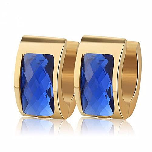 YFZCLYZAXET Pendientes Mujer Moda Casual Joyería De Oreja Pendientes Simples De Acero Inoxidable Personalizado Hebilla De Oreja-Azul