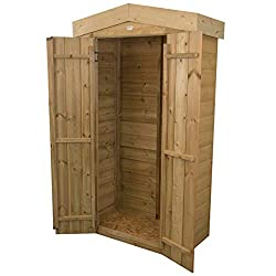 Perfect for the storage of long handled gardening tools, folding furniture and outdoor equipment Approximate 750 litre capacity Double doors have hidden hinges for additional security and can be closed with the plate hasp and staple latch and secured...