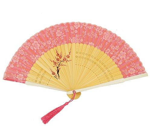 FEOYA Abanico de Bambú Plegable Flores Japonés con Borla para Boda Fiesta Ceremonia - Rosa