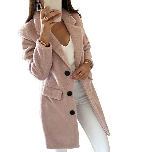 Loozykit Damen Winter Mantel Elegant Warm Wintermantel Steppmantel Knopf Klassische Vintage Zweireihig Revers Schlack Trenchcoat Künstliche Wollmantel Outwear Parka Cardigan Mode (S, Rosa 1)