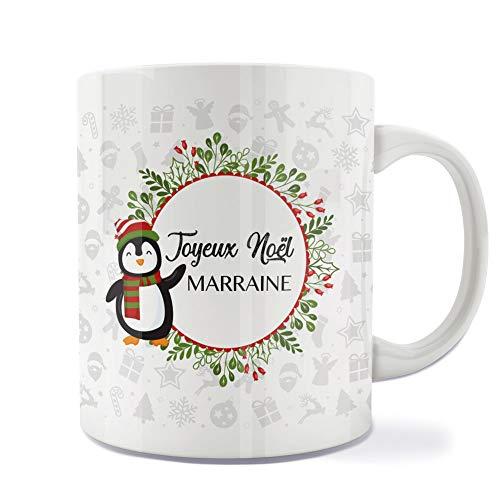 Mug | Tasse | Café | Thé | Petit-déjeuner | Vaisselle | Céramique | Original | Imprimé | Message | Fêtes | Idée cadeau | Pingouin - Joyeux Noël Marraine