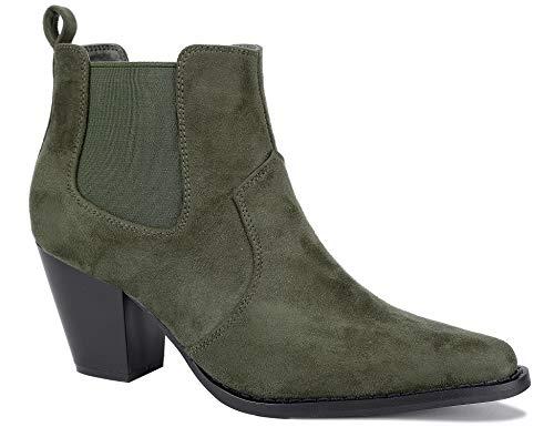 MaxMuxun Stiefel Damen Blockabsatz Plateau Olivgrün Schue Größe 40EU