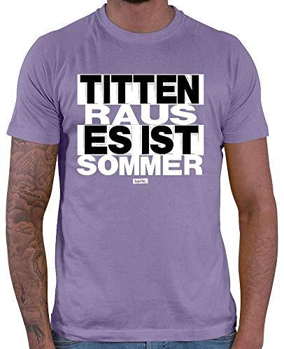 HARIZ Herren T-Shirt Titten Raus Es Ist Sommer Sprüche Schwarz Weiß Inkl. Geschenk Karte Lila 3XL