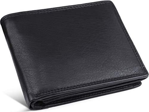 Schlichte Geldbörse aus echtem Nappa Leder mit RFID Schutz, 12 Kartenfächern und Münzfach im Querformat, Schwarz oder Braun