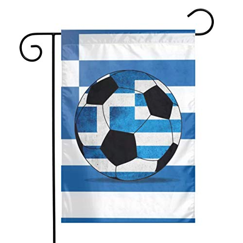 Greece Flag Soccer Ball Garden Flags Home Indoor & Outdoor Holiday Decorations,Waterproof Polyester Yard Decorative for Game Family Party Banner