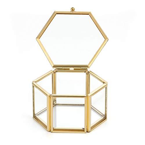 JSDDE Schmuckkästchen aus Glas, Blumen-Design, für Ohrringe und Halsketten