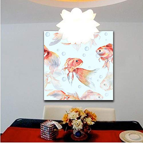 Rjunjie HD Druck Auf Leinwand Malerei Goldfisch Und Blasen Wandkunst Bilder Wohnkultur Für Wohnzimmer (60x100 cm kein Rahmen)
