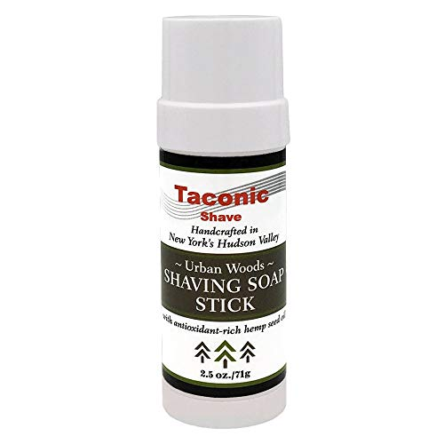 Taconic Shave Urban Woods Parfum rasage Savon bâton avec riche en antioxydants Huile de graines de chanvre 2,5 Oz./71G