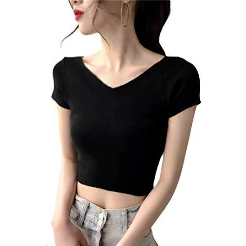 Versin Coreana de Verano para Mujer de la Camiseta de Manga Corta con Cuello en V, Color slido, Todo fsforo, Camiseta Corta y Delgada L