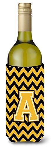 Letra a Chevron negro y dorado para botella de vino bebida Insulator Hugger cj1053-aliterk