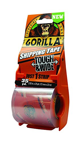 Gorilla Packing Tape Tough & Wide with Dispenser for Moving, Shipping and Storage, 2.83
