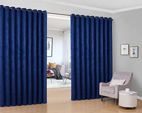 HLC.ME Redmont Gitter-Vorhang mit extra breitem Raumteiler, Verdunkelungsvorhang, wärmeisoliert, für Terrassentür und Schiebetüren, 274 x 300 cm, Marineblau, 2 Stück