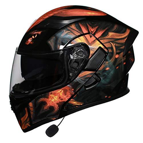 MENUDOWN Motorradhelm,mit Rücklicht,Motorrad-Klapphelm,Motorrad-Integralhelm Bluetooth mit doppelter Sonnenblende Motorrad Harley Scooter Biker Klapphelm,Gladiator A-M