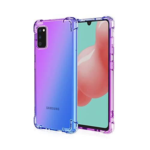 GOGME para Samsung Galaxy A02s Funda, Cubierta Delgado de Silicona Funda Protective Case Cover, Carcasa Fibra TPU [Diseño Durable] [Máxima Protección contra Golpes] - (Morado/Azul)