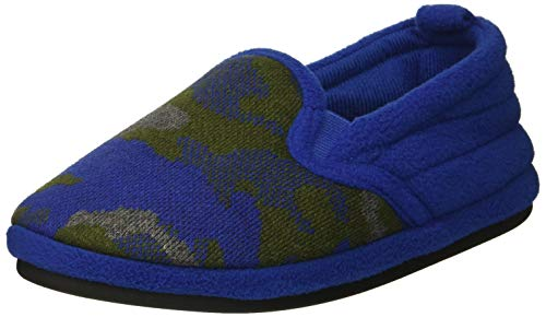 Dearfoams Boys' Kid's Camo and Fleece Clog Slipper, Ocean Blue, 13-1 Youth US Little kid