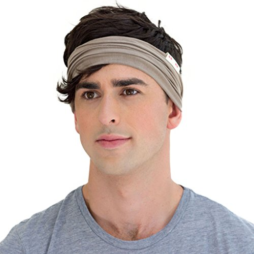 KOOSHOO Men's Walnut Brown Organic Headband A Neutral Headband for Men, Ethically Made from Sweat-Wicking Organic Cotton | Proudly Made in The USA by Workers Paid Living Wages