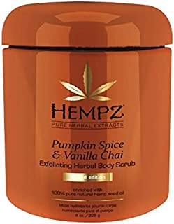 Hempz PUMPKIN SPICE & VANILLA CHAI Herbal Exfoliating BODY SCRUB, 8 Ounce Enriched with Pure Hemp Seed Oil.