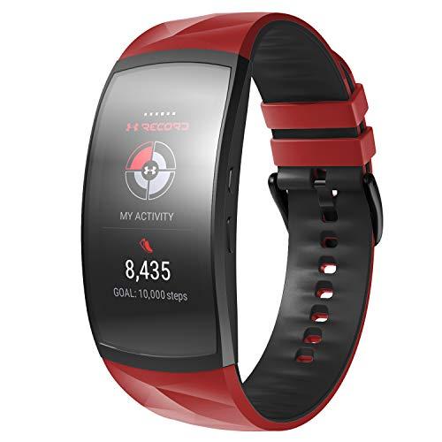 NotoCity Armband für Gear Fit 2 /Gear Fit 2 Pro, Quick-Fit Silikon Ersatz Armbänder für Gear Fit 2 Pro,Rot-Schwarz