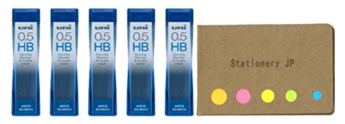 Uni NanoDia Mechanical Pencil Leads, 0.5mm, HB, 5-Pack, Total 75 Leads, Sticky Notes Value Set