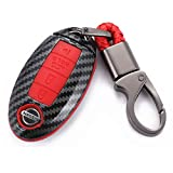 WFMJ Red Carbon Fiber + Silicone Button Smart Remote 4 Buttons Key Fob Cover Case Shell Fob for Nissan Altima Maxima Armada Murano Gt-r Sentra Rogue Pathfinder 370z Versa