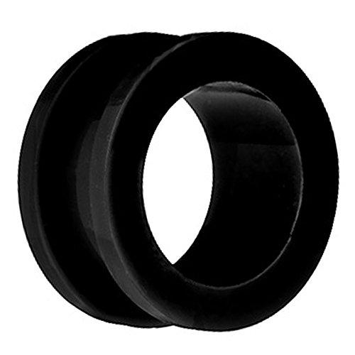 Piersando Flesh Tunnel Ohr Plug Piercing Ohrpiercing Schraub Acryl Kunststoff 8 mm Schwarz