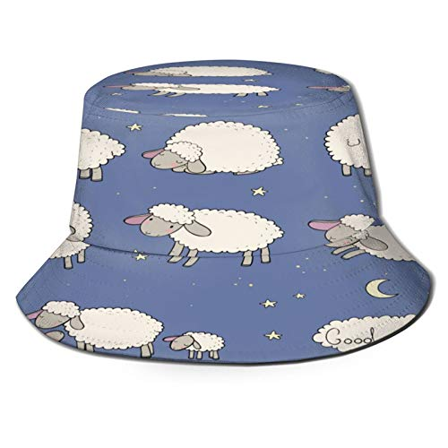 Unisex Bucket Sun Hats Cute Cartoon Sheep Set Farm Animals Fashion Summer Outdoor Travel Beach Fisherman Cap