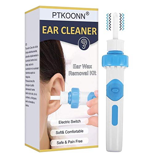 Earwax Removal Kit,Electric Ear Cleaner,Earwax Remover,Portable Automatic Electric Vacuum Ear Wax,Vacuum Ear Wax Remover Soft Ear-Pick Clean Tools Set with Double Heads