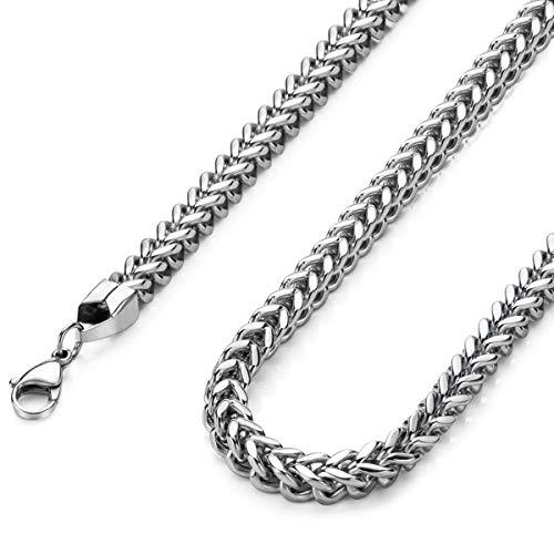 Collar de acero inoxidable pulido de 0.118in y 16.0in para hombre y mujer, acero inoxidable, JN01409SR601802